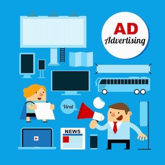 Gens d'affaires avec des médias publicitaires