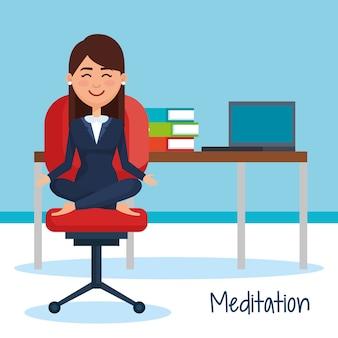 Les gens d'affaires méditation style de vie en milieu de travail