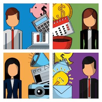 Gens d'affaires mis des icônes d'employé de travail