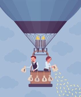Les gens d'affaires sur la montgolfière investir de l'argent pour un profit futur