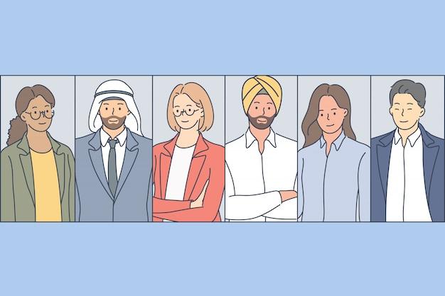 Les gens d'affaires multiraciales définissent le concept