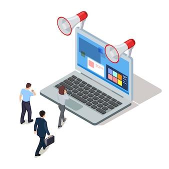 Gens d'affaires avec ordinateur portable et mégaphone