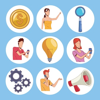 Gens d'affaires et outils de travail
