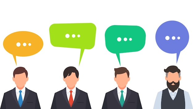 Gens d'affaires parler et discuter avec bulle de dialogue