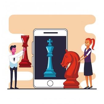 Gens d'affaires avec des pièces d'échecs et smartphone design graphique vector illustration