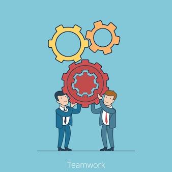 Gens d'affaires plat linéaire tenant des roues dentées concept de travail d'équipe.