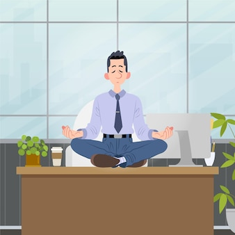 Gens d & # 39; affaires plats organiques méditant illustration