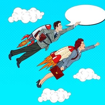 Gens d'affaires de pop art volant sur des fusées. concept de démarrage créatif.