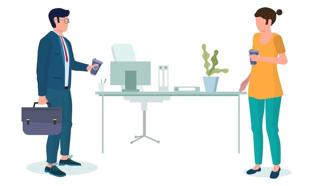 Gens d'affaires prenant une pause-café, illustration vectorielle plane. collègues de personnages masculins et féminins, amis buvant du café à emporter au bureau. l'heure du thé.