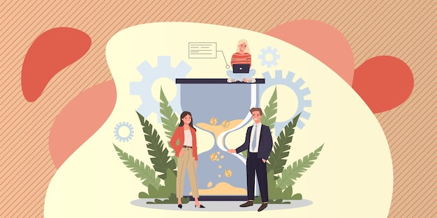 Gens d'affaires prospères gérant efficacement le temps de travail