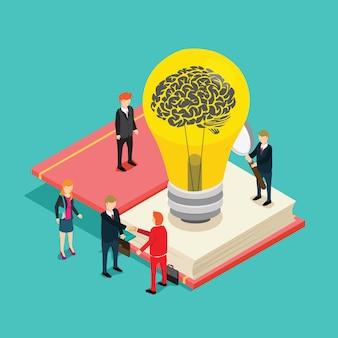 Gens d'affaires à la recherche d'idée isométrique