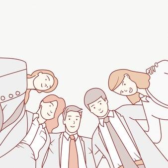 Gens d'affaires à la recherche d'un travail d'équipe