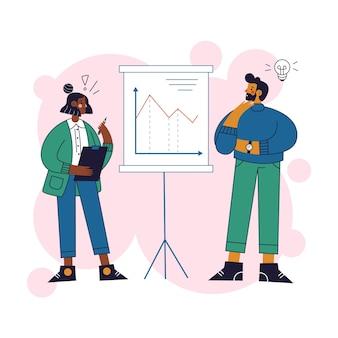 Gens d'affaires en regardant les statistiques