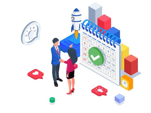 Les gens d'affaires s'entendent sur la planification des activités. illustration d'entreprise isométrique.