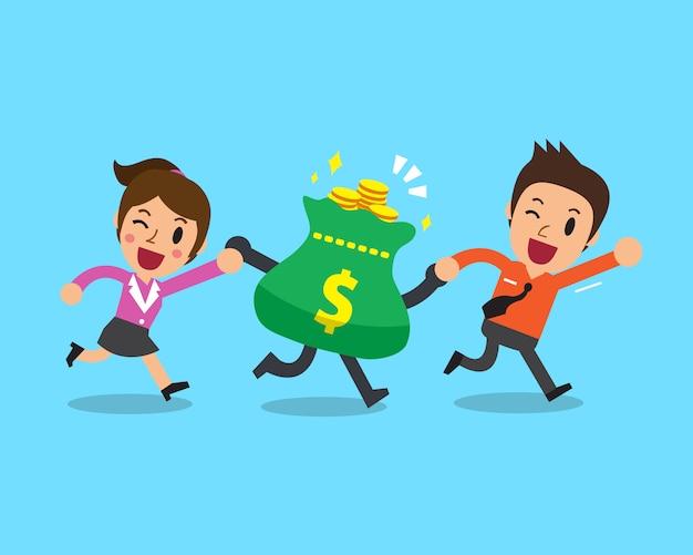 Gens d'affaires avec sac d'argent