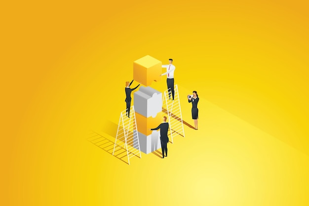 Gens d'affaires se connectant de pièces de puzzle