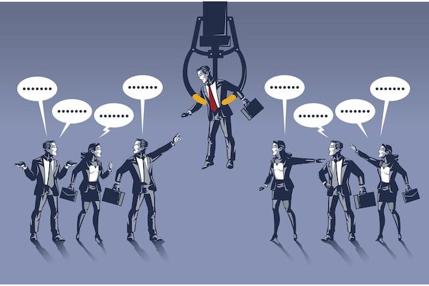 Les gens d'affaires se disputent le col bleu d'un homme d'affaires choisi