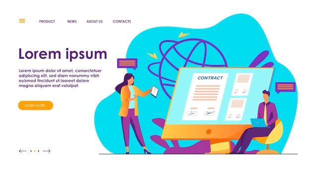 Gens d'affaires signant un contrat en ligne avec illustration de signe électronique.