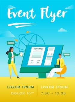 Gens d'affaires signant un contrat en ligne avec un modèle de flyer d'illustration de signe électronique