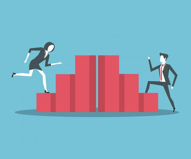 Gens d'affaires et statistiques