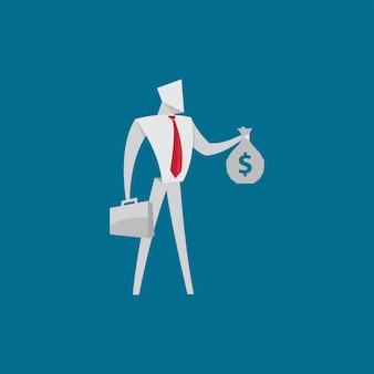 Gens affaires, tenue, argent, sac, origami, style