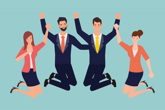 Les gens d'affaires de travail d'équipe caractérisent le bonheur et le saut dans un emploi réussi.