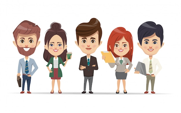 Gens d'affaires travaillant en caractère de travail d'équipe.