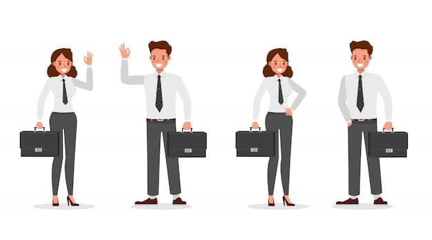 Gens D'affaires Travaillant Dans Le Caractère De Bureau Vecteur Premium