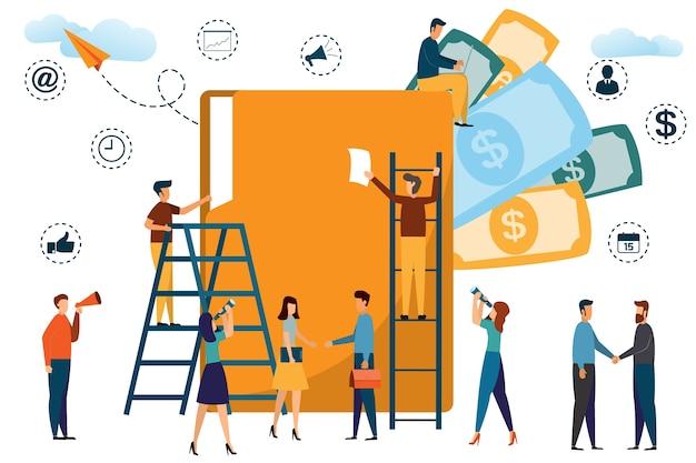 Gens d'affaires travaillant avec un gros dossier dans un bureau. illustration vectorielle moderne