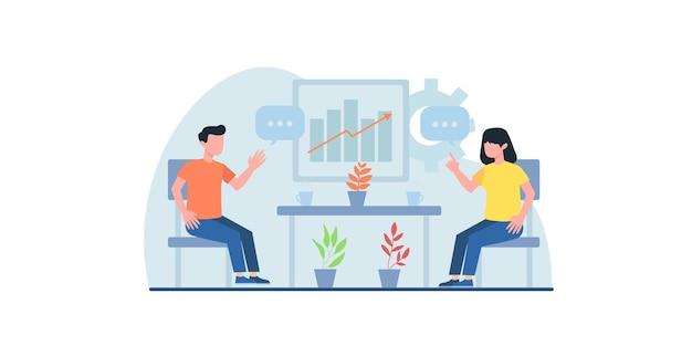 Gens d'affaires travaillant à plat illustration peut être utilisé pour les modèles de conception de pages web se réunissant en ligne
