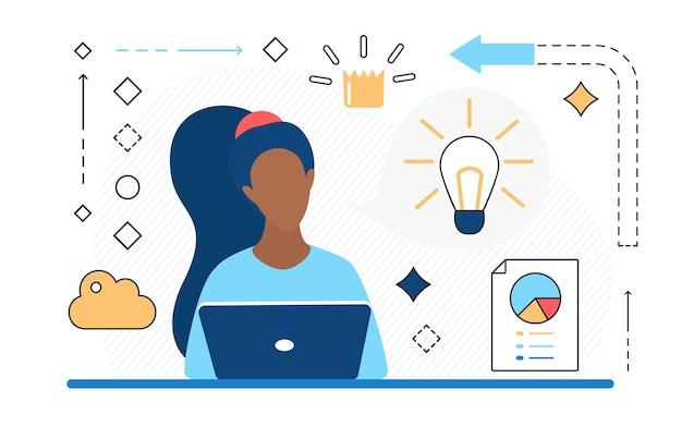 Les gens d'affaires travaillent en ligne sur des icônes de ligne d'idée d'ampoule d'analyse de données de stratégie de réussite