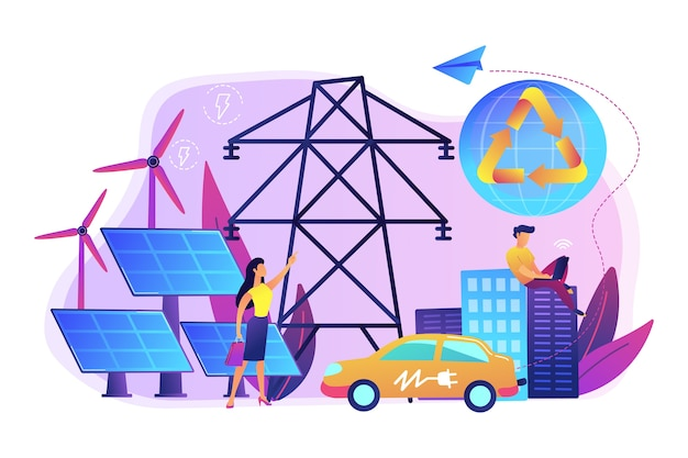 Les gens d'affaires utilisent de l'énergie électrique renouvelable propre dans la ville. énergie renouvelable, ressources énergétiques renouvelables, concept de services énergétiques ruraux.
