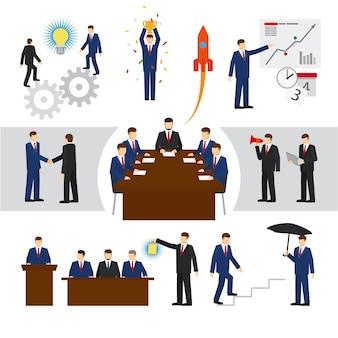 Gens d'affaires de vecteur et travail d'équipe