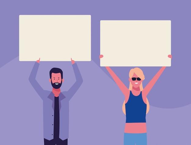 Les gens avec des affiches