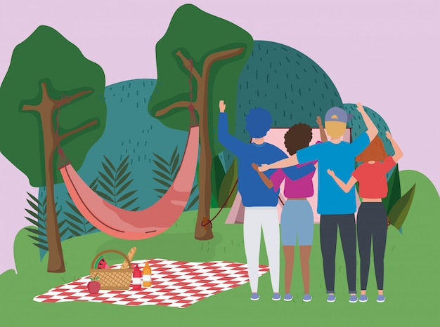 Gens, agitant, main, hamac, couverture, tente, arbres, camping, pique-nique
