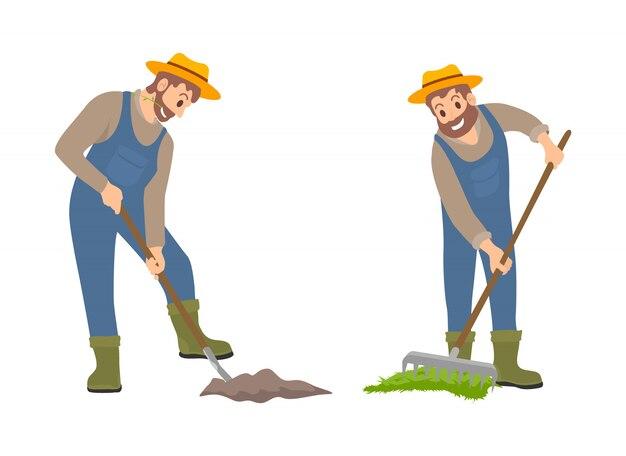 Gens de l'agriculture sur la terre set vector illustration