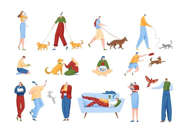 Les gens aiment l'ensemble d'illustration d'animaux de compagnie