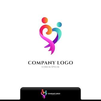 Les gens aiment et prennent soin du modèle vectoriel de logo