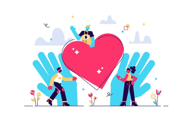 Gens amoureux et mains tenant illustration de coeur