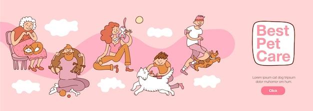 Les gens et les animaux de compagnie interagissent avec les meilleurs symboles de soins pour animaux de compagnie illustration vectorielle plane horizontale
