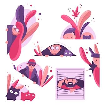 Des gens et des animaux jettent un œil par la fenêtre et les buissons. jeu de caractères homme, femme, chat et chien voyeur. illustration de dessin animé de vecteur d'espionnage isolée sur fond blanc.