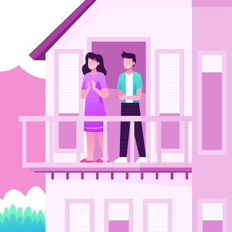 Gens, applaudir, sur, balcons, concept