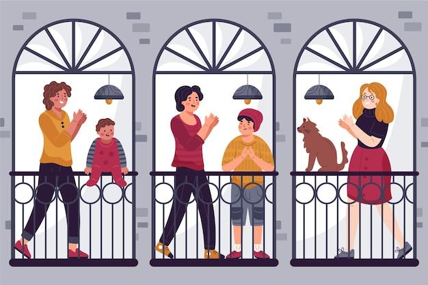 Gens, applaudir, balcons
