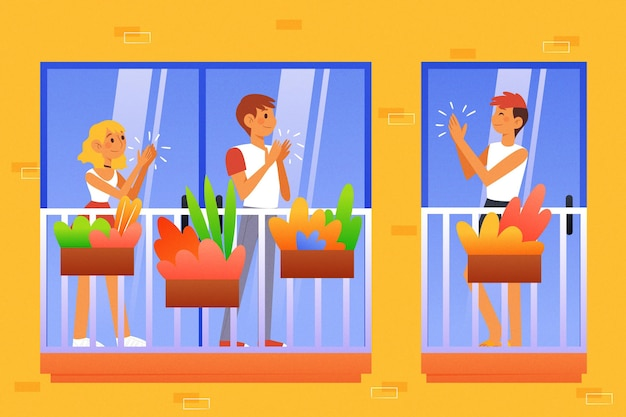 Gens applaudissant sur les balcons illustrés