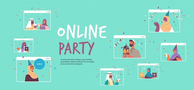 Les gens arabes en chapeaux de fête célébrant la fête d'anniversaire en ligne hommes arabes femmes dans les fenêtres du navigateur web s'amuser célébration concept d'isolement de soi portrait illustration de l'espace de copie horizontale