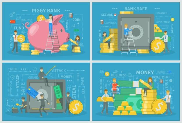 Les gens avec de l'argent faisant ensemble d'opérations financières. les économies dans la tirelire et l'argent volent dans le coffre-fort de la banque. commerce électronique et économie. illustration de plat vectorielle