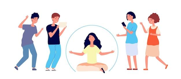 Des gens asociaux. jeune personne isolée, séparation sociale du groupe. confort dans la solitude, femme introvertie à l'intérieur de la bulle