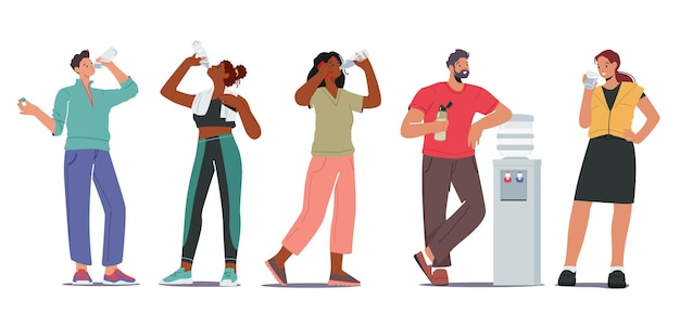 Les gens assoiffés boivent le concept d'eau douce. personnages masculins et féminins, jeunes et adultes buvant de l'eau froide dans une glacière, une fille sportive, une hydratation rafraîchissante après l'entraînement en salle de sport. illustration vectorielle de dessin animé