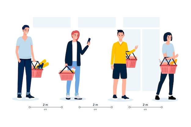 Les gens attendent en ligne dans un supermarché