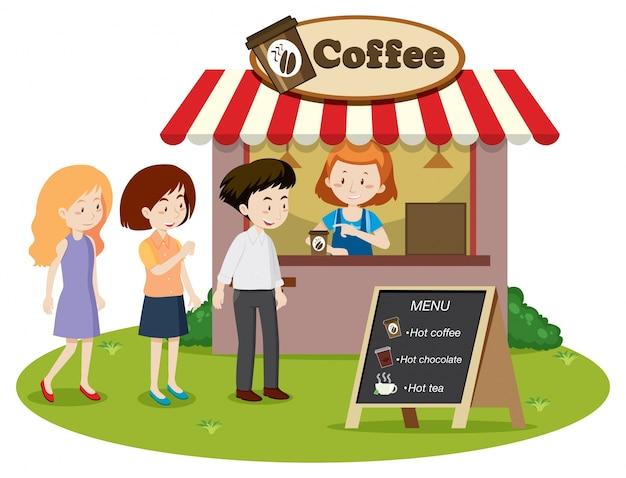 Les gens attendent en ligne sur le stand de café